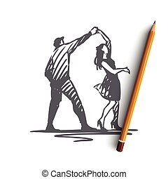 Couple, dancing, partner, music, party concept. Hand drawn isolated vector.