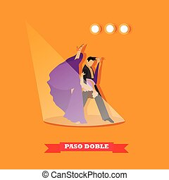 Couple dancing paso doble concept vector poster. People in beautiful dress dance on a stage