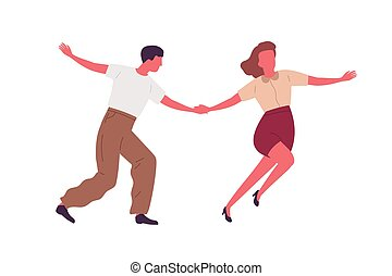 Couple dancing together holding hands vector flat ...