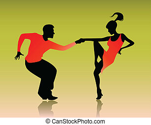 Couple dancing - Vector illustration of a couple dancing on...