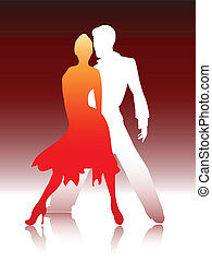 Couple dancing - VEector illustration of a young couple ...