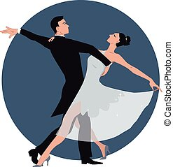 Couple dancing waltz - Vector illustration of a couple...