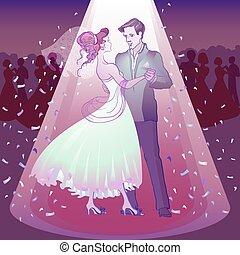 Couple dancing wedding dance in the spotlight
