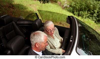 couple, dans, a, argent, voiture