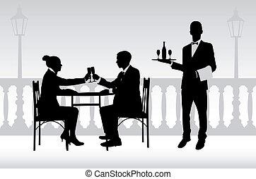 couple, dans, les, restaurant, et, serveur