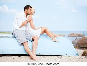 couple, dans, nuances, mer, côté