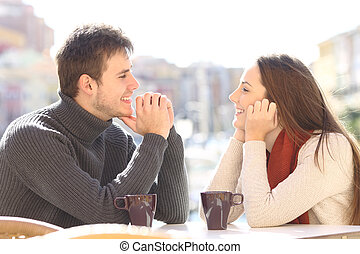 Couple dating and flirting looking each other