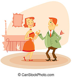 Couple dating  illustration - Couple dating