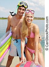couple, de, plongeurs