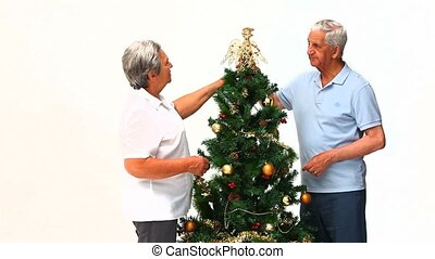 Couple decorating the Christmas tre