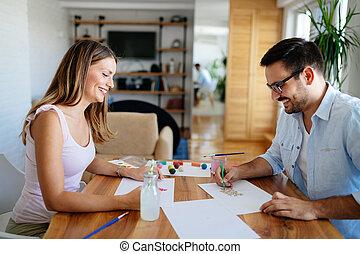 couple, dessin, amusement, maison, avoir, heureux