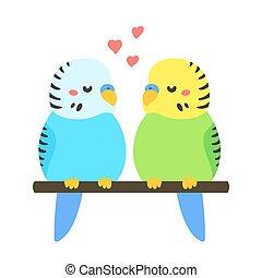 couple, dessin animé, parakeets