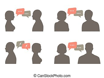 couple dialog with speech bubble, communication