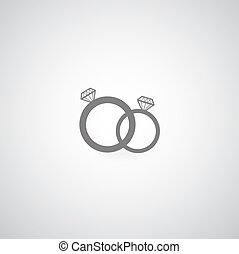 couple diamond engagement ring vector symbol