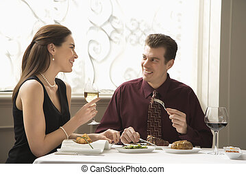 couple, dining.