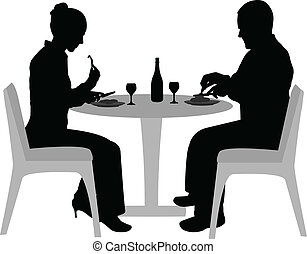 couple dining - couple sitting and dining silhouettes -...