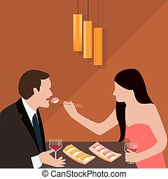 couple dinner woman give food for man romantic sushi eating drink wine glass