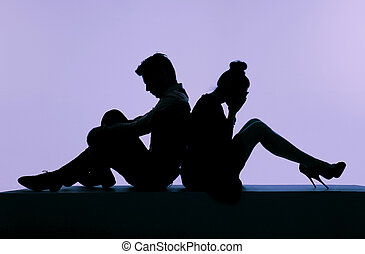 couple, discuter, image, présentation