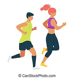 Couple doing exercise, workout routine together cartoon ...