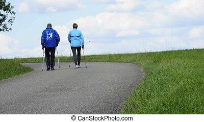 couple doing nordic walking