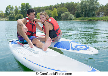 couple doing paddling