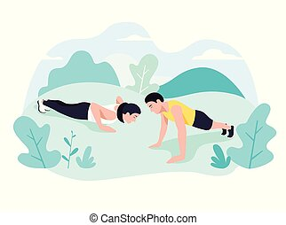Couple doing plank exercise core workout together in park.