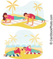 Couple doing plank exercise core workout together outdoors