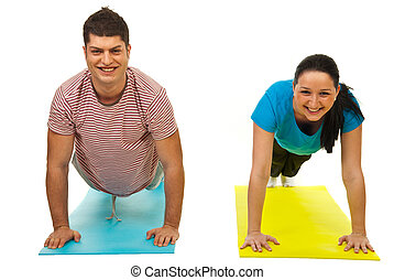 Couple doing push-ups