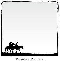Couple doing Romantic ride. Ink frame