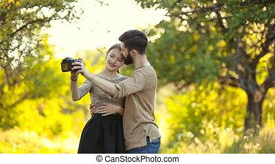 couple doing selfie camera