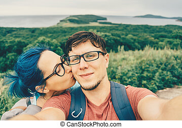 Couple doing selfie on nature