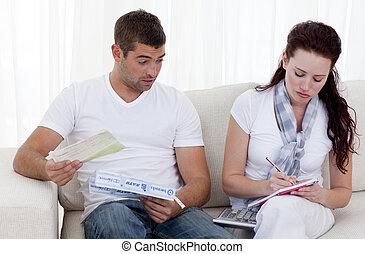 Couple doing their bills