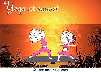 Couple doing yoga on the beach at sunset, vector background