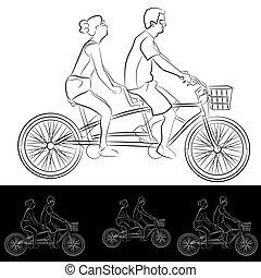 couple, double bicyclette, cavaliers, jeune