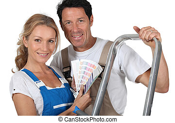 Couple dressed for DIY
