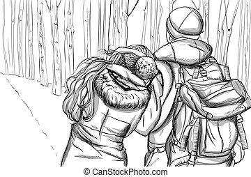 Couple dressed in winter clothes walking trough the woods while cuddling. Line art