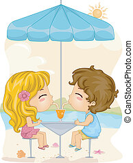 Couple Drink - Illustration of a Boy and a Girl Sharing a...