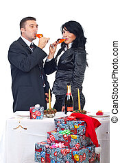 Couple drinking champagne and celebrate X-mas