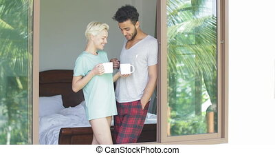 Couple Drinking Coffee Enjoy View From Window, Beautiful...