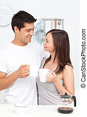 Couple drinking coffee together