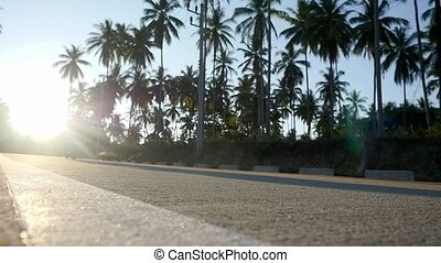 Couple drive motorbike on tropical sunny road between the...