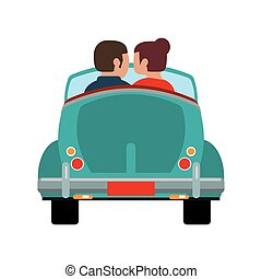couple driver car romantic