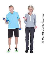 couple, dumbbells, exercisme, mûrir