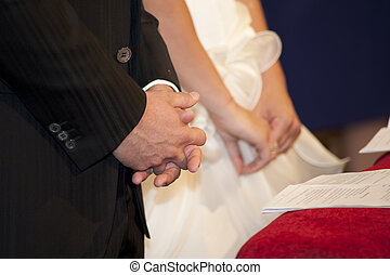 Couple during celebration - bridegroom and bride in the...
