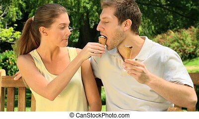 Couple eating ice creams