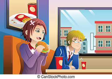Couple eating lunch together