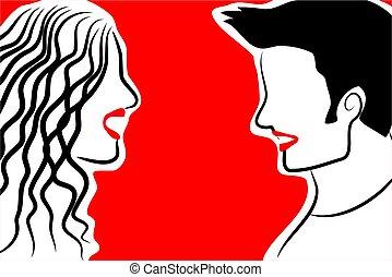 couple - elegant line art