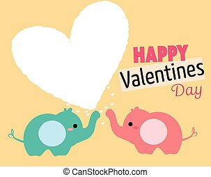 Cute cartoon elephant couple. elephant boy and girl with ...