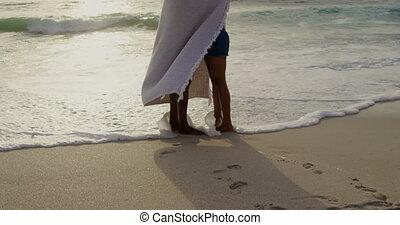 couple, emballé, côté, africaine, vue, couverture, américain, plage, 4k
