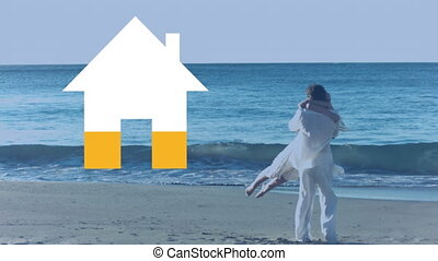 Couple embracing by the sea and house icon filling yellow